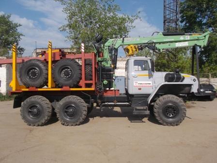 Лесовоз УРАЛ 55571-70 с прицепом-роспуском  и манипулятором ЛВ-185-14 (Лесовозный автопоезд) в наличии и на заказ
