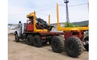 Изображение Лесовоз УРАЛ 55571-70 с прицепом-роспуском и манипулятором ОМТЛ-97 (Лесовозный автопоезд)