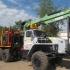 Лесовоз УРАЛ 55571-70 с прицепом-роспуском  и манипулятором ЛВ-185-14 (Лесовозный автопоезд)